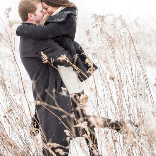 Jackie & Shaun's Snowy Engagement Session at LeRoy Oakes